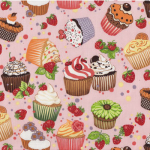 Cupcakes Cup Cakes Strawberries Quilt Fabric