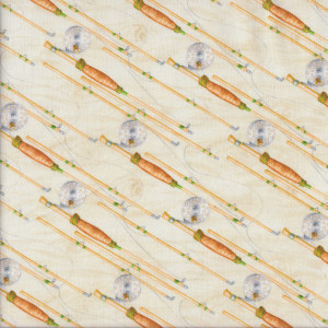 Fishing Reels on Cream Mens Sport Quilt Fabric