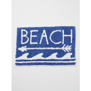 Beach Arrow Waves Design 100% Woven Cotton Floor or Door Mat Navy