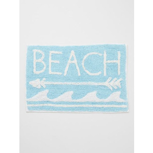 Beach Arrow Waves Design 100% Woven Cotton Floor or Door Mat Sky Blue