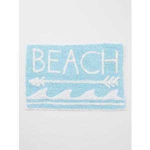 Beach Arrow Waves Design 100% Woven Cotton Floor or Door Mat Sky Blue