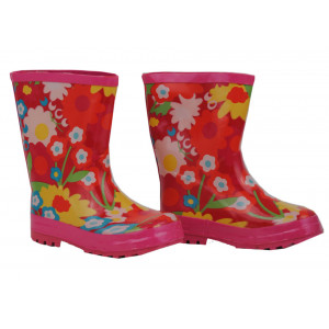 Flower Power on Red Kids Childrens Wellies Rainboots Gumboots
