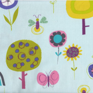Fly Away Flowers Birds Butterflies Blue Quilt Fabric