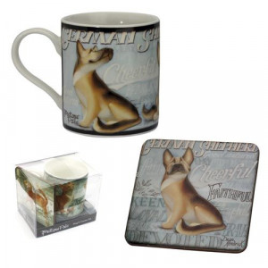 German Shepherd Dog Mug And Coaster Set