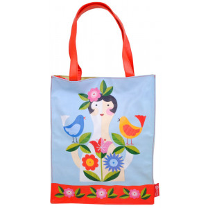 Large PVC Shopping Tote Bag Girl With Birds and Flowers