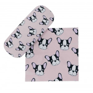 Puppy on Pink Design Glasses Case & Eyeglasses Cleaning Cloth