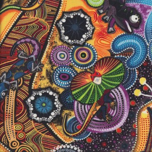 Goanna Walkabout Lizard Aboriginal Indigenous Quilt Fabric
