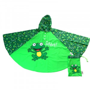 Frogs Kids Childrens Green Rain Poncho