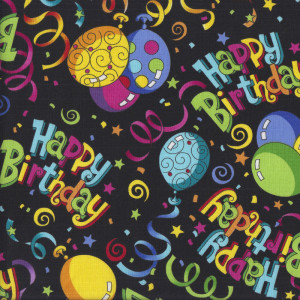 Happy Birthday Celebration on Black Quilting Fabric