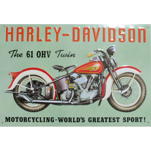 Harley Davidson 61 OHV Motorcycle Nostalgic Reproduction Tin Sign