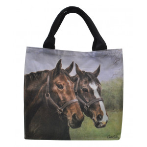 Canvas Tote Carry Shopper Bag Two Horses