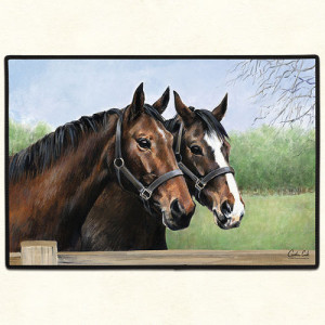 Two Horses Non-Slip Rubber Backed Doormat