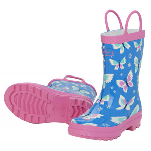 Icy Butterflies on Blue Design Pull On Kids Rainboots Gumboots By Hatley