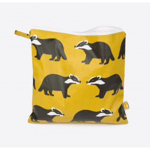 Kissing Badgers Large Travel Toiletry Bag Coated Cotton Canvas