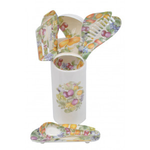 11 Piece Fruit Design Melamine Kitchen Serving Utensil Holder Set