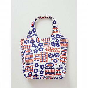 Kukka Red and Blue Flower Canvas Reusable Shopping Carry Bag