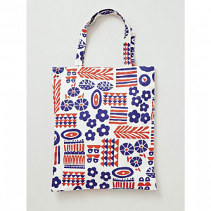 Kukka Red and Blue Flower Canvas Reusable Shopping Tote Bag
