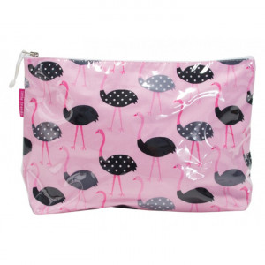 Large Cosmetic Makeup Toiletry Travel Bag Ostrich on Pink