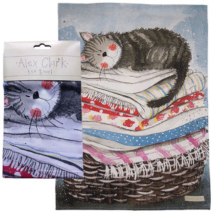 Cat Sleeping on Laundry Basket Alex Clark Tea Towel
