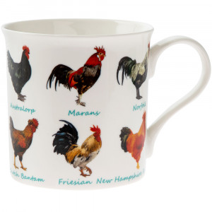 Roosters Cockerels Chickens Fine China Tea Coffee Mug