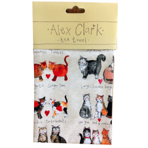 Kitchen Tea Towel 100% Cotton Marvellous Cats Moggies Alex Clark