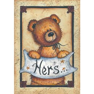 Teddy Bear Hers Bath Towel 5 x 7 Print