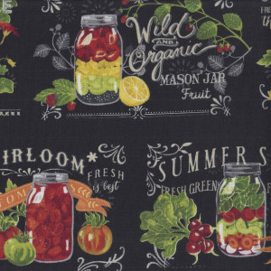 Mason Jars Fruit Vegetables on Black Quilting Fabric