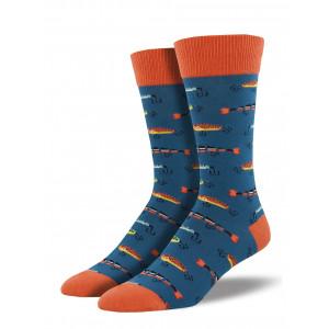 Mens Fun Novelty Socks Just Fishing on Blue