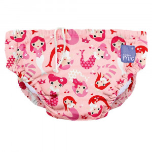 Pink Mermaid Design Reusable Baby Swim Nappy Large by Bambino Mio
