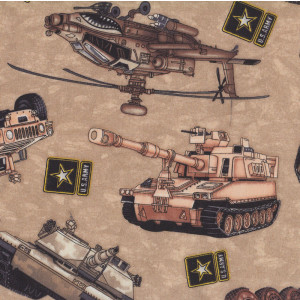 Military Vehicles Helicopter Tank Boys Quilt Fabric