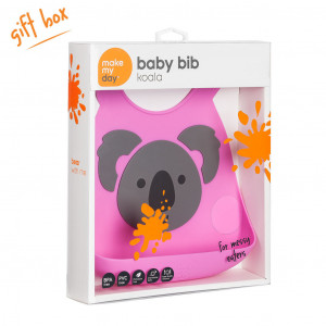 Make My Day Grey Koala on Pink Design Silicone Baby Bib