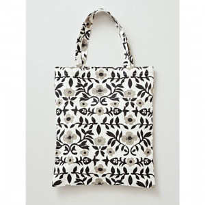 Monotone Flower Canvas Reusable Shopping Tote Bag