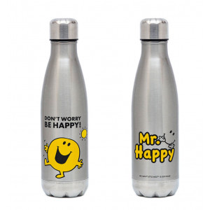 Mr Men Mr Happy Stainless Steel Water Drink Bottle