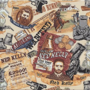 Ned Kelly Outlaw Wanted For Murder Reward Quilting Fabric