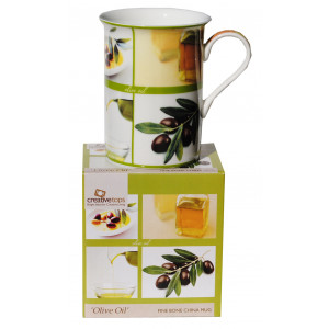 Fine Bone China Mug Olive Oil Design
