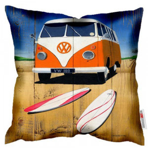 VW Volkswagen Kombi Campervan Van Beach Art Print Retro Cushion