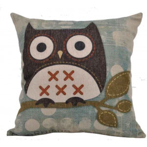 Wise Brown Owl On Branch Design Square Cushion