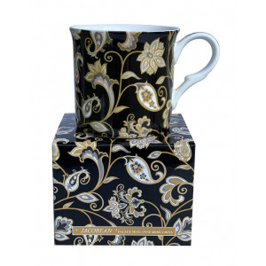 Black Jacobean Fine Bone China Palace Tea Coffee Cup Mug