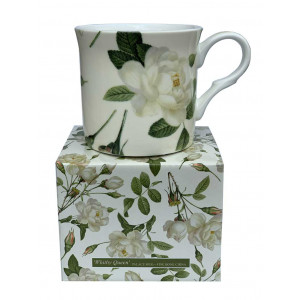 Whitby Queen White Rose Fine Bone China Palace Mug Tea Cup