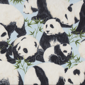 Panda Bears with Bamboo on Light Blue Quilt Fabric
