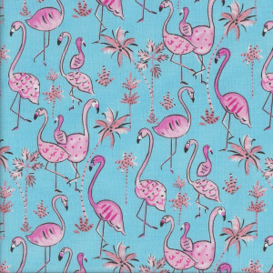 Flamingo Birds Palm Trees on Blue Quilt Fabric
