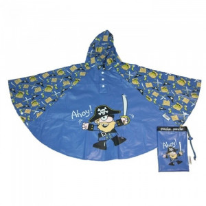 Pirates Kids Childrens Blue Rain Poncho