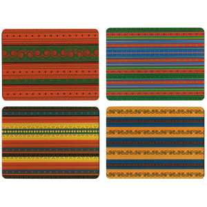 Set of 4 Dining Table Placemats and Coasters African Textiles Design