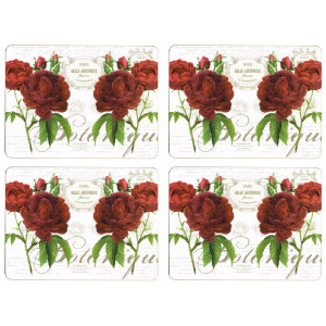 Set of 4 Dining Table Placemats and Coasters Botanical Rose
