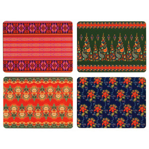 Set of 4 Dining Table Placemats and Coasters Egyptian Textiles Design
