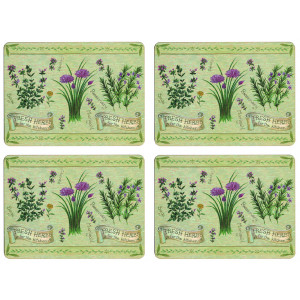 Set of 4 Dining Table Placemats and Coasters Fresh Herbs