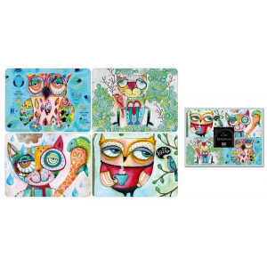 Placemats Cork Backed Wise Cats and Owls Set of 4