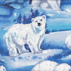 Polar Bears Artic Ice Animal Quilting Fabric