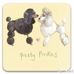 Poodles Cork Backed Drink Coaster By Alex Clark