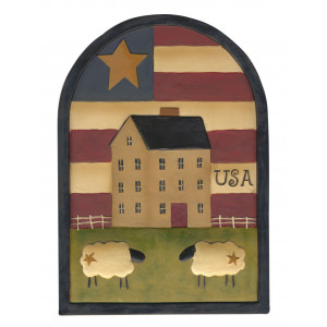 Primitive USA Flag House and Sheep Resin Plaque